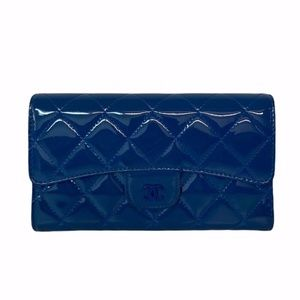 Chanel Patent Long Flap Wallet Blue